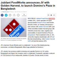 Jubilant FoodWorks announces JV with Golden Harvest,to launch Domino's Pizza in Bangladesh